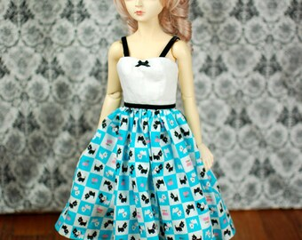 SD13 Blue Scotty Dog Dress For Ball Jointed Dolls