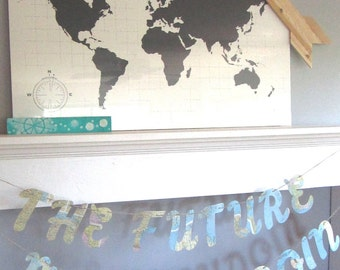 Bridal Shower Banner, The Future Mrs., Map Bridal Shower, Vintage Travel Theme, Travel Theme Bridal, Photo Prop, Map Wedding,Custom Fonts