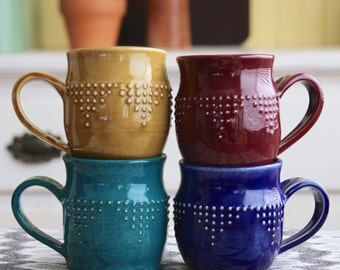 Stoneware Mug - Hand Thrown - 16 Color Choices - Handmade Modern Dinnerware - MADE TO ORDER