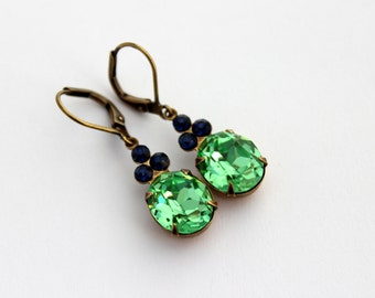 Peridot earrings, Sapphire earrings, Swarovski earring, sapphire blue earrings, blue and green earrings, bridesmaid gift, green wedding  1