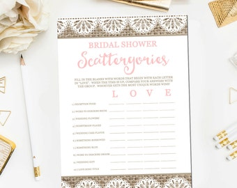 Burlap and Lace Bridal Shower Scattergories Game, Printable Rustic Burlap Scattergories Game Bridal Shower Game Instant Download BR10