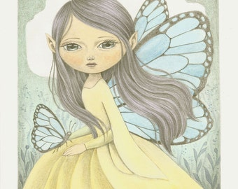 Original Watercolor Painting, Original Art OOAK Illustration, Graphite and watercolor painting of a butterfly fairy in the forest