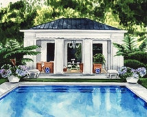 Pool House Art New England Giclee Print of Watercolor Painting Water Palm Trees Palm Springs Cabana Summer Swimming Pool East Coast Preppy