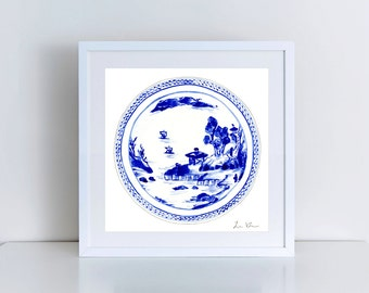 Blue White China Plate No. 2 Blue Willow Print Chinoiserie Watercolor Ginger Jar Art Chinese Decor Chinese Landscape Art Gift for Her
