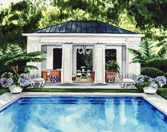 Pool House Art New England Painting Palm Trees Print Water Art Summer Art Swimming Rose All Day Good Vibes Only Cute Wall Art Pretty Art