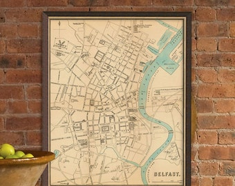 Belfast map - Fine giclee print - Old map of Belfast (Northern Ireland)