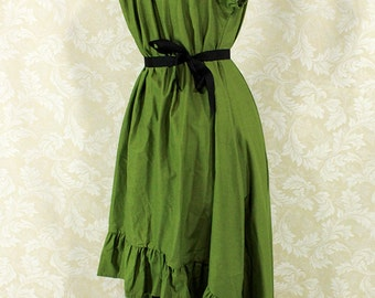"""Steampunk Cap Sleeved Ragamuffin Dress in Ivy Cotton -- Size L, Fits Bust 40""""-44"""" -- Ready to Ship"""