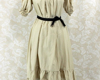 """Steampunk Ragamuffin Dress with Short Sleeves in Khaki Cotton -- Size S, Fits Bust 33""""-36"""" -- Ready to Ship"""