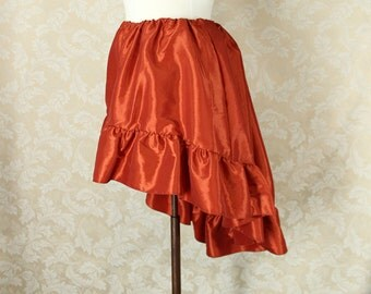"Steampunk High Low Mini Cecilia Skirt -- Rusty Orange Taffeta -- Ready to Ship -- Best Fits Up To 48"" Waist"