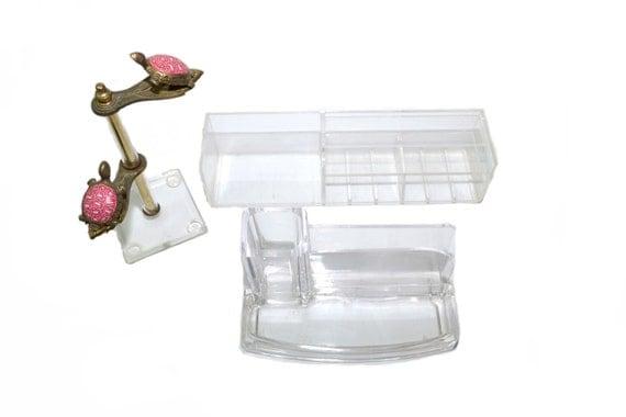 Lucite desk organizer lucite caddy lucite vanity tray lucite - Acrylic desk organizer set ...