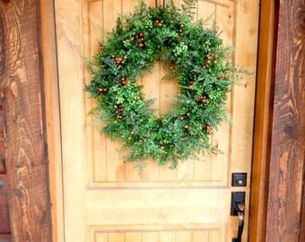 Large Fall Wreath-BOXWOOD Wreath-Fall Door Wreath-Autumn Wreath-Outdoor Wreath-Orange Wreath-Fall Home Decor-Housewarming Gift-Gift for Mom