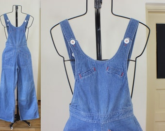 1970's Denim Overalls / Bellbottoms Pantsuit / Vintage Extra Small Light Blue Jean One Piece