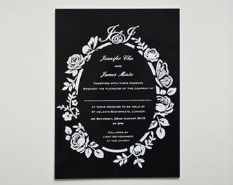 Personalised Laser Cut Wedding Invitation Engraved Acrylic Invitation Bespoke Design Floral Wedding Clear Acrylic Card