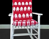 Rocking Chair Cushion Cover - Red White Elephants