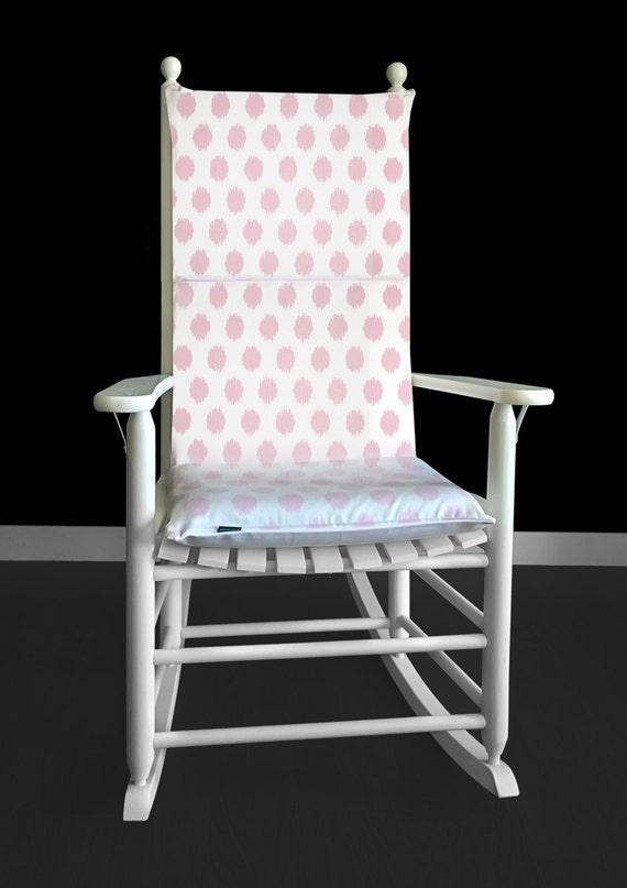 Rocking Chair Cushion Cover - Jo Jo Pink Ikat Polka Dot, Ready to Ship