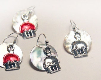 Summer Party Gift Cute House Charm Earrings Small Silver Dangle Erarrings Home Sweet Home Mother of Pearl Shell Circle Silver or Red Roof