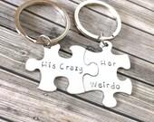 SALE His Crazy Her Weirdo, Boyfriend Gift, Couples Keychains, Anniversary Gift, Husband Gift, Geek Gift, Couples Gift, geekery, Couples Gift