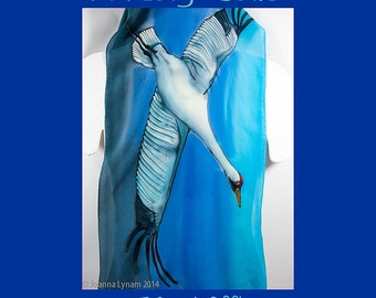 "Flying Bird Silk Scarf. FRIDAY SALE. Whooping Crane Scarf. 15"" x 58"" Handpainted silk scarf. Hand-painted silk scarves. Handmade silk scarf."