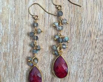 Ruby & Labradorite Earrings // Dangle, Gold Bezel Gemstone, Teardrop, Red, Maroon, Garnet, Gray, Fall Winter Style