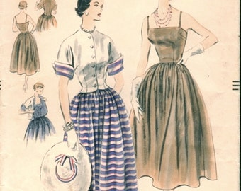 Lovely Vintage early 1950s Vogue 7952 Strappy Sun Dress and Short Spencer Jacket Sewing Pattern B32