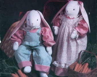 Uncut Vintage 1990s Simplicity Crafts 7599 Bunny and Wardrobe Stuffed Animals by Faith Van Zanten Sewing Pattern
