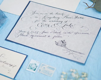 Hand Calligraphy Invitation Design. Includes RSVP design + return address design | W i n d s w e p t