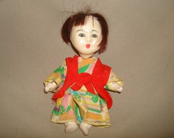 "SaLE - Vintage Japanese Gofun Geisha BABY DOLL ~ 5-1/2"" Papier Mache Compo Type Glass Eyes"