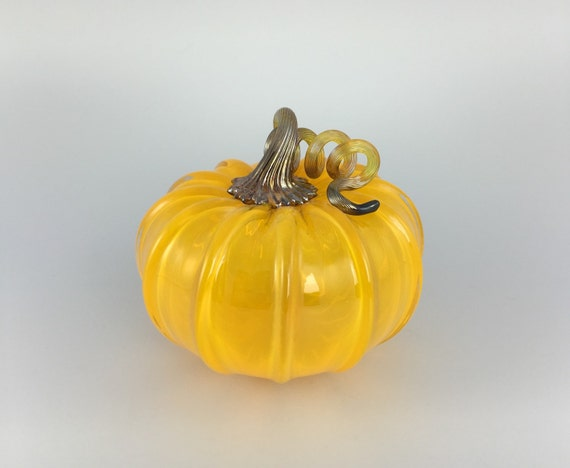"5"" Glass Pumpkin by Jonathan Winfisky - Transparent Citrus Orange - Hand Blown Glass"