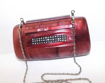 Vintage plastic lucite box boxy clutch handbag shoulder bag pink marble effect chain strap diamante detail