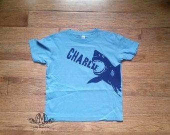 Personalized shark shirt, shark birthday shirt for boys, gift for kids