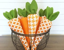 Easter Decor - Fabric Carrot - Bunny Carrot - Bowl Filler - Stuffed Carrots - Decorative Spring - Seasonal Decorations - Shelf Sitter