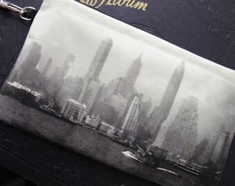 Leather Wristlet with Vintage Photo of New York City Skyline, c. 1940