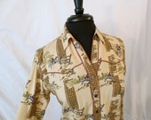 HORSE AND HOUND hunting novelty print shirt blouse - western shirt - sz xs s