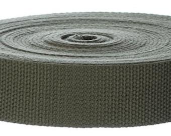 "5 Yards Cotton Webbing 1.25"" Olive - For Key Fobs, Handbags, Belts, Totes, Backpacks, Dog Collars, Dog Leads"