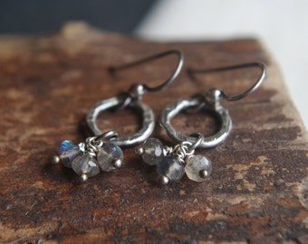 Labradorite earrings - fine silver earrings - Hand forged metalwork dangles - Organic circles, semiprecious stones - AAA faceted Labradorite