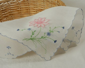 Vintage Dainty White Cotton Handkerchief with Something Blue Scalloped Edge and Flowers with Pink Flower Hankie