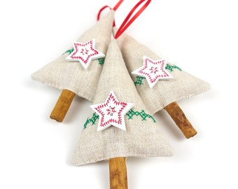 Cinnamon Stick Christmas Tree Decorations Red and Green Rustic Holiday Decor Cross Stitch Linen with Wooden Star