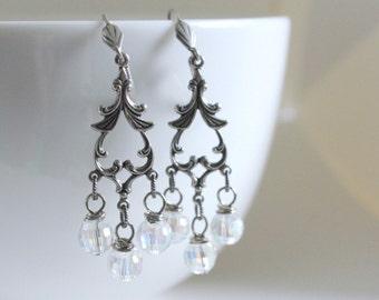 Crystal Earrings, Statement Earring, Chandelier Earring, Flea Market Fancy, Silver Filigree Bridesmaid Gift, Sorority Gift, Country Living