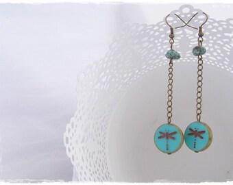 Long Dragonfly Earrings, Teal Tribal Earrings, Nature Insect Earrings, Brass Turquoise Earrings, Dangling Earrings, Tribal Dragonfly Jewelry