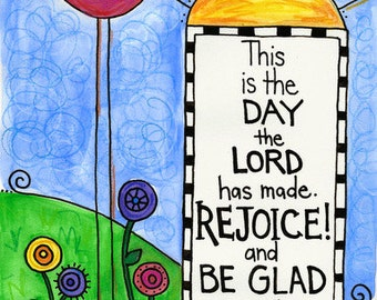 Psalm 118 Rejoice and Be Glad Bird Illustrated Watercolor Prints