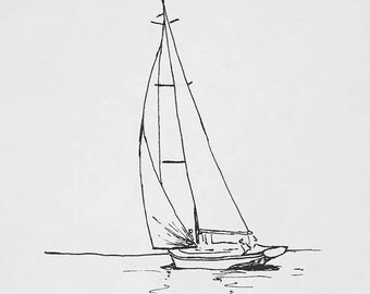 Sail Away - Ink Sketch, Ink Drawing, Pen and Ink, Black and White, Fine Art Print, Giclee, Original Art, Sea life, Sailboat Sketch