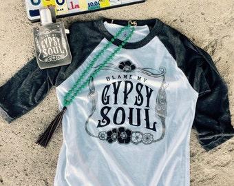 Gypsy Soul, Small, Raglan Tee, American Apparel, Gypsy, Bohemian, Baseball Raglan, Graphic Tee