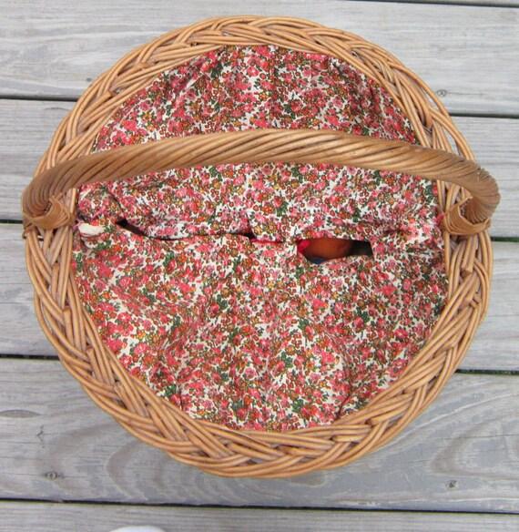 Knitting Basket,cotton liner, red floral liner, drawstring, twisted handle