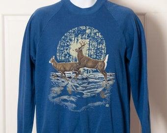 80s 90s Whitetail Deer Sweatshirt - blue - Large