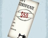 50 Dollar Gift Certificate - Gift Card For Cherishables - CherishablesNJ - Sewn in NJ - Ready to Ship