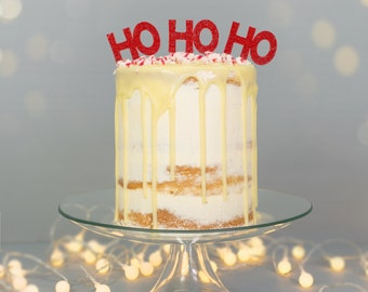 Ho Ho Ho Christmas Cake Topper Food Pick - Pack of 3