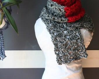 Crochet Scarf,Knit Scarf,Long Scarf,Handmade Scarves,Fashion Scarves,Neck wear,Mens Scarves,Neck Wrap,Neck warmer,Womens Scarves,Red,Grey,
