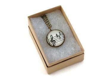 Antique Bronze Vintage Sheet Music Necklace