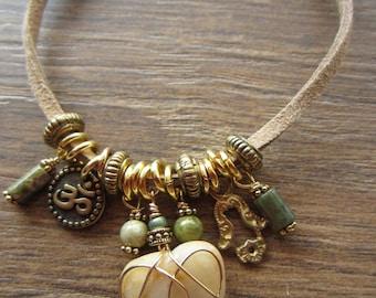 Yoga Boho Bracelet, Tiny Gold Ohm Charm, Hamsa Hand Charm, 4 Sage Green Gemstones, Beach Heart