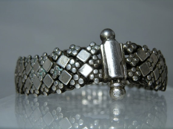 Vintage Hand Woven Diamond Mesh Indian Sterling Silver